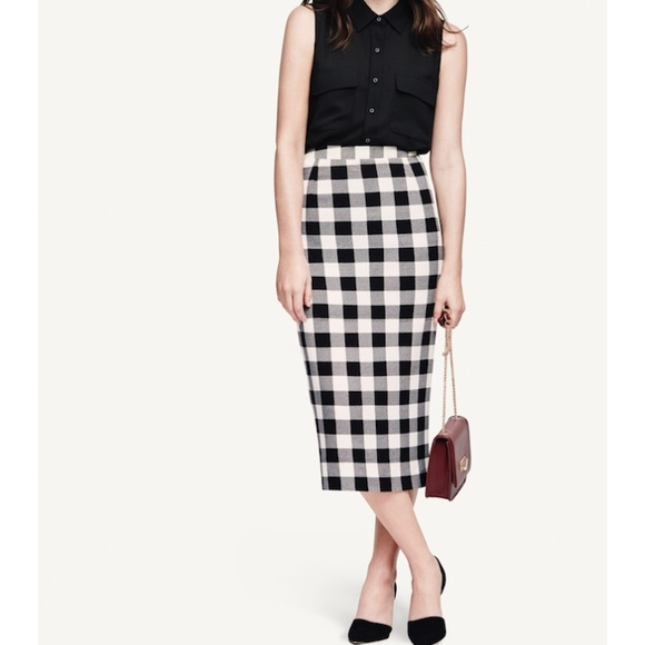 fcccbe8981 Who What Wear Skirts | Whowhatwear Black White Gingham Midi Pencil ...